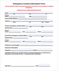 Sample Contact Information Form 12 Examples In Word Pdf