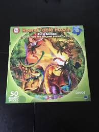 round table puzzle kids edition dinosaurs 50 jumbo pieces 19 made in usa new 1810274764