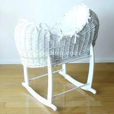 Wicker Bassinet Basket Large Luxury Baby White W Waffle Bedding ...