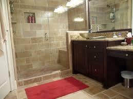 Dark Red Bathroom Tiny Bathroom Design Ideas With Dark Wood Cabinet And Red Floor Mat