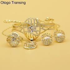otogo transing pendant earrings bracelet jewelry sets gold color red crystal zirconia classic bridal
