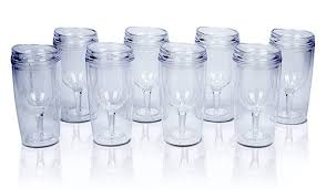 top house insulated wine tumbler with lid acrylic stemless wine glasses 10 oz assorted colors bulk pack of 8