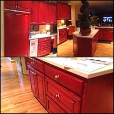 Red Kitchen Black Glaze Over Red Kitchen Cabinets Angelfish Studios