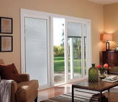 vinyl sliding patio doors with blinds between the glass