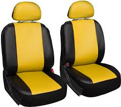 faux leather suv van truck seat cover yellow 17pc steering wheel belt head rests