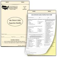 Inspection Form Bus Drivers Daily Inspection Form Booklet Nationalschoolforms Com
