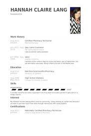 Pharmacy Technician Resume Examples Impressive Certified Pharmacy Technician Resume Samples VisualCV Resume