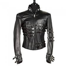 mj gothic military leather jacket