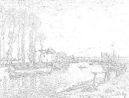 アルフレッドシスレーの風景画大人の塗り絵サンマメスのロワン川