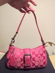 Coach Small Hot Pink Handbag Purse Signature Logo USED