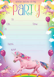 Birthday Party Invitation Unicorn Birthday Party Invitations Pack Of 20 Envelopes Kids Girls