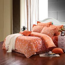 light orange and white cute abstract modern country flower print full queen size bedding sets