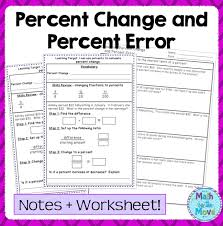 interactive notes pages and worksheet for teaching and practicing finding percent change and percent error