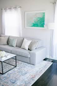 Modern Furniture For Living Room Cool Toned Living Room Grey Modern Sofa Faded Blue Rug White