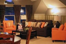 Burnt Orange And Brown Living Room Concept Interesting Design Ideas