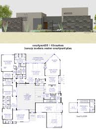 luxury modern courtyard house plan