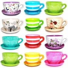 Image is loading TERRACOTTA-TEA-CUP-AND-SAUCER-SHAPED-GARDEN-PATIO-