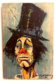 print of famous clown painting by spanish artist rosy fernandez diaz