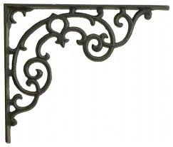 wall shelf bracket ornate pattern black cast iron 11 25 long mediterranean brackets by tgl direct