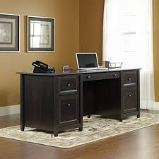 spacious black desk with drawers for work station ideas black stained maple wood home office black office desk