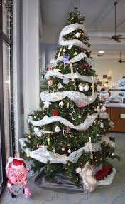 christmas decorations for office. Silvery Ribbon Decorated Christmas Tree For Office Decoration Decorations