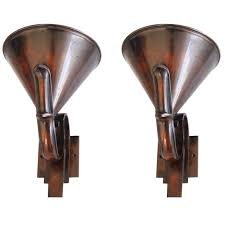 pair of french high art deco solid bronze torchiere or uplighter wall sconces 1