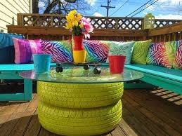 terrace furniture ideas. garden table made of old tires diy furniture ideas 4 terrace
