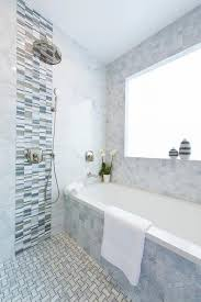 Gray Glass Shower Accent Tiles with Rain Shower Head Transitional