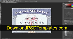 Security Card Template Social Security Card Template Ssn Editable Psd Software