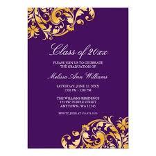 Graduation Party Announcement Purple Gold Swirl Graduation Party Announcement Lowest Price For You