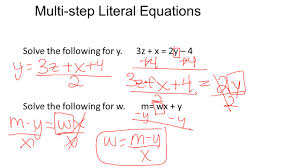 multi step literal equations