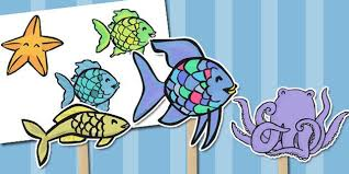 the rainbow fish stick puppets
