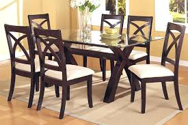 glass dining table set 6 chairs stunning black and faux leather white top round