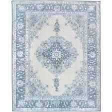 washable parisa blue 8 ft x 10 ft stain resistant area rug