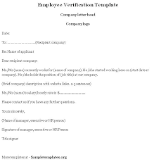 Verification Letter From Employer 8 Salary Verification Letter Sample Employer Templates For