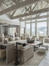Mountain style formal and open concept light wood floor and gray floor living  room photo in