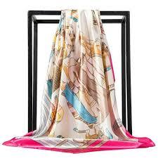 O CHUANG Silk <b>Scarf</b> Fashion Foulard Satin Shawl <b>Scarfs</b> Big Size ...