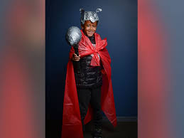 photo to create this thor costume use a quilted black puffer coat as armor