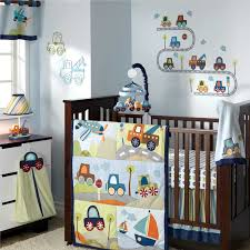 Car Baby Crib Bedding Set And White Dresser And Soft Blue Wall Color In Boy  Nursery