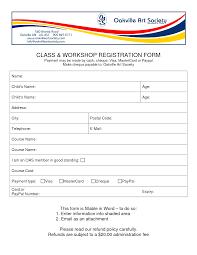 Class Registration Form Template Word Barca Fontanacountryinn Com