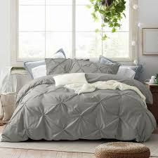 details about 2 3 pieces pinch comforter duvet cover set with zipper closure pleat design grey