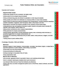 public relations writer job description copywriter job description