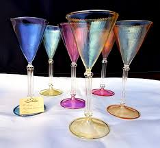 italy handmade set of 6 cut crystal glasses beautiful colours