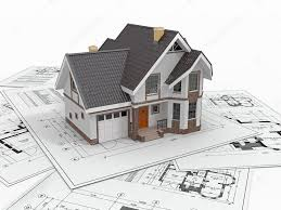 Residential house on architect blueprints Housing project Stock