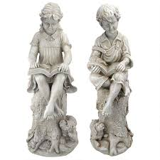 children garden statues. Sierra \u0026 Sebastian The Reading Child Garden Statues: Set Of Two Children Statues
