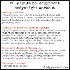 20 minute no equipment bodyweight workout via a lady goes west