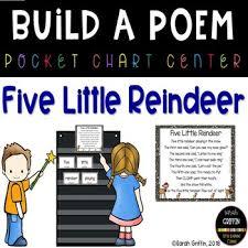 Pocket Chart Poems For Kindergarten Build A Poem 5 Little Reindeer Pocket Chart Poetry Center