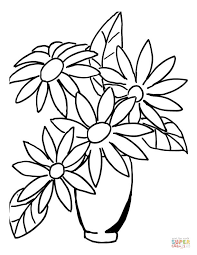 Small Picture Flowers in Vase coloring page Free Printable Coloring Pages