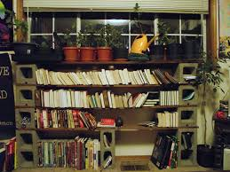 concrete block furniture ideas. Large DIY Cinder Block Bookshelf With Six Concrete Blocks And Four Tiered Wooden Racks Plus Indoor Plants At The Top Furniture Ideas B