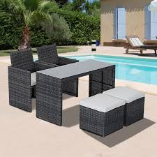 space saving patio furniture. Outsunny 5pc Rattan Wicker Dining Set Outdoor Sofa Table Ottoman Space Saving Patio Furniture With G